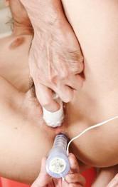 Mio Hiragi Asian asshole and vagina under vibrators and dildos